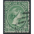 FALKLANDS IS - 1892 ½d green Queen Victoria, crown CA watermark, used – SG # 16