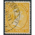 FALKLANDS IS - 1891 6d orange-yellow Queen Victoria, crown CA watermark reversed, used – SG # 33x