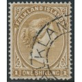 FALKLANDS IS - 1896 1/- yellow-brown Queen Victoria, crown CA watermark, used – SG # 38