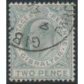 GIBRALTAR - 1910 2d greyish slate KEVII, multi crown CA watermark, used – SG # 68