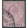 GIBRALTAR - 1908 6d dull purple/violet KEVII, multi crown CA watermark, used – SG # 60a