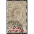GIBRALTAR - 1910 4/- black/carmine KEVII, multi crown CA watermark, used – SG # 73