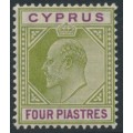 CYPRUS - 1905 4pi olive-green/purple KEVII definitive, multi crown CA watermark, MH – SG # 66