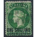 ST HELENA - 1871 ONE SHILLING on 6d deep green QV, crown CC watermark, used – SG # 19