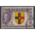 SARAWAK - 1950 $5 black/red/yellow/purple KGVI Arms of Sarawak, used – SG # 185