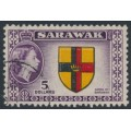 SARAWAK - 1957 $5 black/red/yellow/purple QEII Arms of Sarawak, used – SG # 202