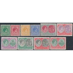 ST KITTS - NEVIS - 1938 ½d to 5/- KGV Definitives, MNH – SG # 68-77