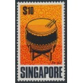SINGAPORE - 1969 $10 Ta Ku Musical Instrument, MNH – SG # 115