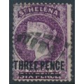 ST HELENA - 1868 THREE PENCE on 6d purple QV (type B), crown CC watermark, used – SG # 11
