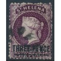 ST HELENA - 1873 THREE PENCE on 6d purple QV (type A), crown CC watermark, used – SG # 12