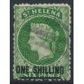 ST HELENA - 1868 ONE SHILLING on 6d deep yellow-green QV (type B), crown CC watermark, used – SG # 18