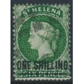ST HELENA - 1876 ONE SHILLING on 6d deep green QV (type C), perf. 14:12½, crown CC watermark, used – SG # 26