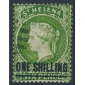 ST HELENA - 1894 ONE SHILLING on 6d yellow-green QV, crown CA watermark, used – SG # 45