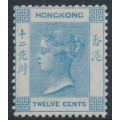 HONG KONG - 1865 12c pale blue Queen Victoria, crown CC watermark, MH – SG # 12a