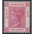 HONG KONG - 1884 2c carmine (aniline) Queen Victoria, crown CA watermark, mint hinged – SG # 33a