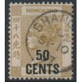 HONG KONG - 1885 50cents on 48c yellow-brown Queen Victoria, used – SHANGHAI, China cancel