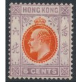 HONG KONG - 1907 6c orange-vermilion/purple King Edward VII, multi crown CA watermark, MH – SG # 94