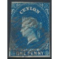 CEYLON - 1857 1d deep turquoise-blue Queen Victoria, imperforate, large star watermark, used – SG # 2