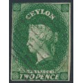 CEYLON - 1857 2d green Queen Victoria, imperforate, large star watermark, used – SG # 3