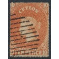CEYLON - 1861 10d dull vermillion Queen Victoria, rough perf. 15, large star watermark, used – SG # 34