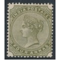 INDIA - 1882 4d slate-green Queen Victoria, inverted star watermark, mint hinged – SG # 96w