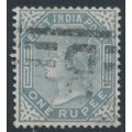 INDIA - 1874 1R slate Queen Victoria, elephant watermark, used – SG # 79