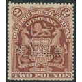 RHODESIA - 1908 £2 brown British South Africa Company SPECIMEN perfin, unused – SG # 91s