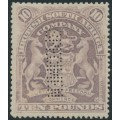RHODESIA - 1901 £10 lilac British South Africa Company SPECIMEN perfin, unused – SG # 93s