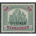 SELANGOR / MALAYSIA - 1899 $10 green/purple Elephants, overprinted SPECIMEN, mint hinged – SG # 65s