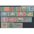 JAMAICA - 1938-1952 ½d to £1 KGVI Definitives set of 18, mint hinged – SG # 121-133a