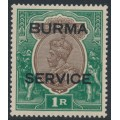 BURMA - 1937 1R chocolate/green India KGV definitive overprinted BURMA and SERVICE, MH – SG # O11