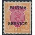 BURMA - 1937 2R carmine/orange India KGV definitive overprinted BURMA and SERVICE, MNH – SG # O12w