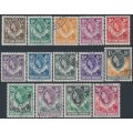NORTHERN RHODESIA - 1953 ½d to 10/- QEII definitives set of 14, used – SG # 61-74