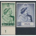 FIJI - 1948 2½d green & 5/- violet-blue Royal Silver Wedding Anniversary set of 2, MH – SG # 270-271