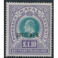 SOUTH AFRICA / NATAL - 1902 £1.10 green/violet KEVII definitive, o/p SPECIMEN, MNH – SG # 143s