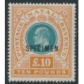 SOUTH AFRICA / NATAL - 1902 £10 green/orange KEVII definitive, o/p SPECIMEN, MNH – SG # 145s