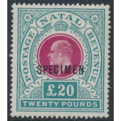 SOUTH AFRICA / NATAL - 1902 £20 red/green KEVII definitive, o/p SPECIMEN, MNH – SG # 145bs