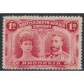 RHODESIA - 1910 1d bright carmine Royal Couple, perf. 14, unused – SG # 123