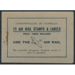 AUSTRALIA - 1935 3/- booklet, 12 x 3d green Airmail stamps, black/pale green cover – ACSC # B50