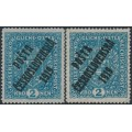 CZECHOSLOVAKIA - 1919 2Kr blue Coat of Arms on both papers overprinted P.Č. 1919, MH