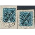 CZECHOSLOVAKIA - 1919 2Kr blue Coat of Arms on both papers overprinted P.Č. 1919, used
