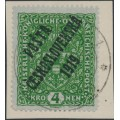 CZECHOSLOVAKIA - 1919 4Kr green Coat of Arms overprinted P.Č. 1919, used - Michel # 57I