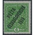 CZECHOSLOVAKIA - 1919 4Kr green Coat of Arms overprinted P.Č. 1919, MH - Michel # 57I