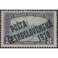 CZECHOSLOVAKIA - 1919 3Kr violet/grey Parliament, overprinted P.Č. 1919, MH - Michel # 135