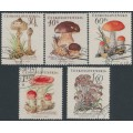 CZECHOSLOVAKIA - 1958 Mushrooms / Toadstools set of 5, used – Michel # 1101-1105