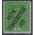 CZECHOSLOVAKIA - 1919 4Kr green Coat of Arms, overprinted P.Č. 1919, MH - Mi. # 57I