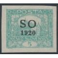 CZECHOSLOVAKIA - 1920 5H green-blue Hradčany, imperf., overprinted SO 1920, MNH – Mi. # 3A