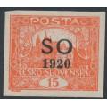 CZECHOSLOVAKIA - 1920 15H red Hradčany, imperf., overprinted SO 1920, MH – Mi. # 6A