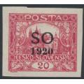 CZECHOSLOVAKIA - 1920 20H carmine Hradčany, imperf., overprinted SO 1920, MH – Mi. # 8A