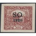 CZECHOSLOVAKIA - 1920 500H red-brown Hradčany, imperf., overprinted SO 1920 in black, MNH – Mi. # 24Ab